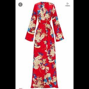 Red Floral Print Kimono Maxi Dress